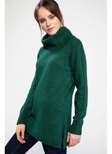 DeFacto Yırtmaçlı Şal Yaka Triko Tunik Yeşil